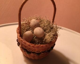 Dollhouse Miniature Handmade Easter Basket