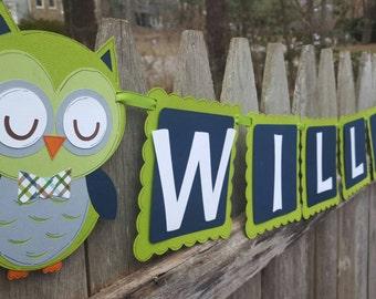 Boy Owl Banner, Baby Boy Owl Baby Shower Banner