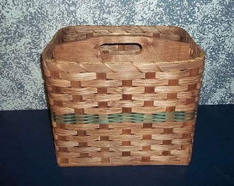 Handwoven Magazine Basket with Solid Wood Handled Divider