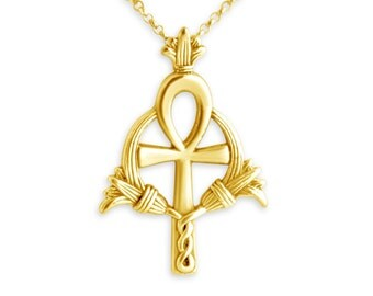 Egyptian Ankh Ancient Cross Religious Symbol of Eternal Life Charm Pendant Necklace #14K Gold Plated over 925 Sterling Silver #Azaggi N0172G