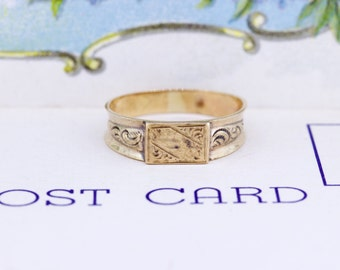 Victorian Signet Ring | Stacking Ring | Monogram Ring | Engraved Antique Gold Ring | 14k Yellow Gold Ring | Victorian Jewelry | Size 6.5