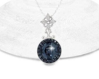 Black Swarovski Crystal Necklace, Graphite Swarovski Crystal Pendant Necklace, Black Cushion Cut Bridal Necklace, Bridesmaid Necklace