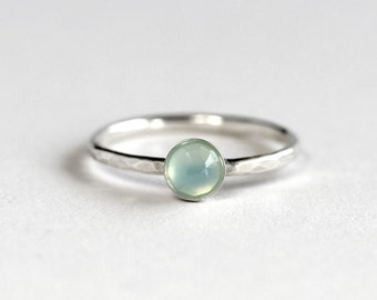 Aqua Chalcedony Stacking Ring - Chalcedony Ring - Chalcedony Solitaire Ring
