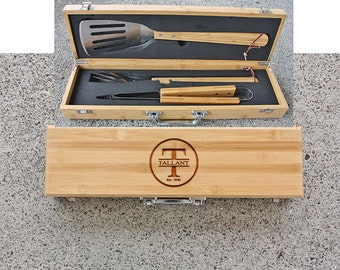 SHIPS FAST, Initial Personalized Grill Set, Personalized Gift for Him BBQ Set, Custom Engraved Gift for Grilling, Grilling Set,  BBQ10