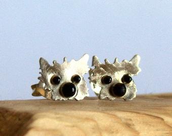 Westie stud earrings , westie sterling silver earrings ,westie