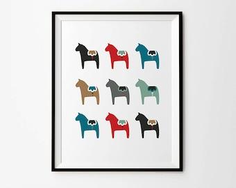 Dala horse print, 5 x 7 in, 8 x 10 in, 11 x 14 in, Scandinavian prints, Swedish print, Wall art poster, Home Decor
