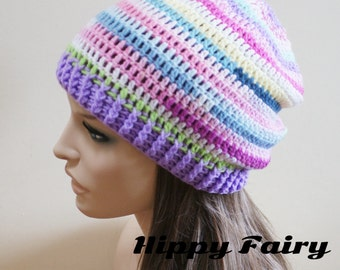 Deep pastel shades slouchy beanie hat with Lilac band