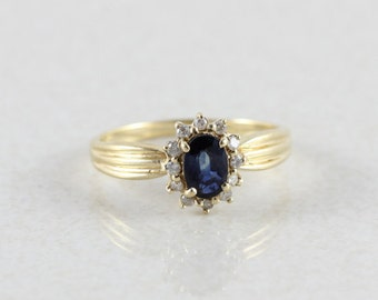 14k Yellow Gold Natural Blue Star Sapphire and Diamond Ring Size 6 3/4