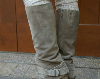 Luxe Legs - Heather Brown (Oatmeal) Thigh High Boot Socks- with Lace and Wood Buttons