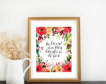 Scripture Print: Everything Beautiful