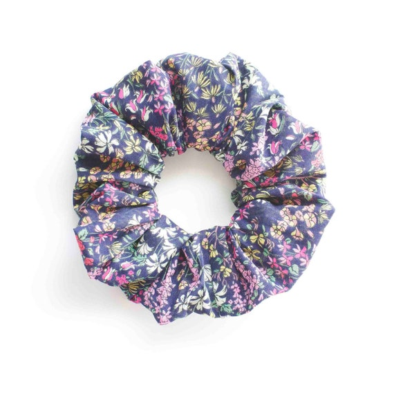 BLUE and FLORAL. Hair Scrunchy or Scrunchie. Blue Floral Hair Scrunchies. Hair Accessories. Retro Accessory