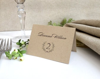 Laurel Wreath Kraft Wedding Name Cards - Wedding Place Cards - Printed Escort Cards - Simple and Elegant Name Cards with Table Numbers