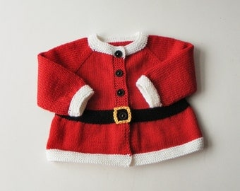 Santa sweater Santa cardigan for baby Santa coat Xmas baby sweater Christmas sweater MADE TO ORDER