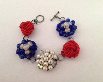 Red, White and Blue Vintage Earring Bracelet Upcycled Repurposed - Free Shipping!