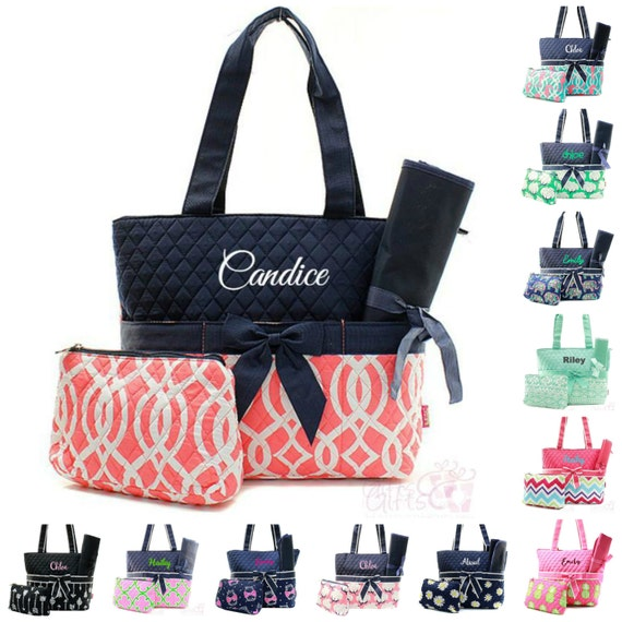 monogrammed diaper bag quilted baby tote boy by giftshappenhere. Black Bedroom Furniture Sets. Home Design Ideas