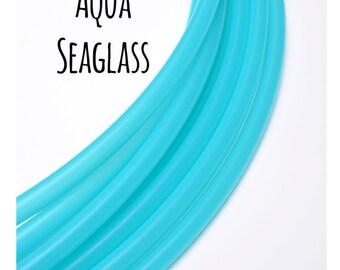 UV Aqua Seaglass Translucent 3/4 Polypro Hoops ~ Blue/Aqua/Teal 3/4 Polypro Performance Hula Hoops, UV Blue Polypro, Teal Sky Blue Hoop