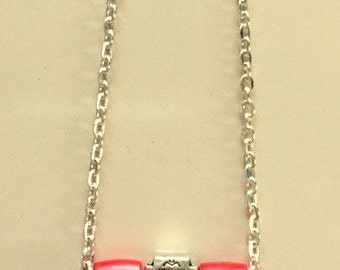 Natural Red Coral and Silver Bar Style Necklace - Made To Order