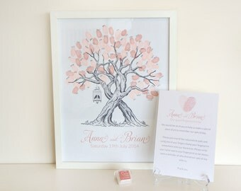 Custom Wedding Fingerprint Tree - with birdcage