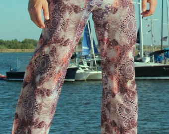 Men's Relaxed Fit // Fractal Psychedelic Pants // Sacred Geometry // Great for Burning Man Festival