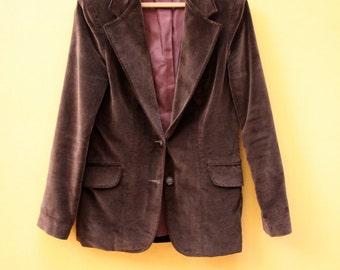 Vintage Blazer Brown Velvet Velour Vintage Jacket Womens Size 9 Medium [Retro Jacket Coat Velvet Two Button Fitted Lined]  32 inch waist