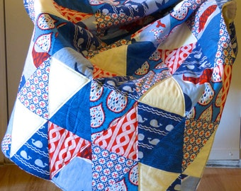 Nautical baby quilt, nautical crib bedding, triangle baby quilt, nursery bedding nautical, baby quilt blue, baby quilt anchor, baby blanket
