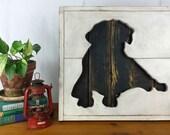 Black Lab Wooden Sign, Rustic Labrador Retriever Dog Silhouette
