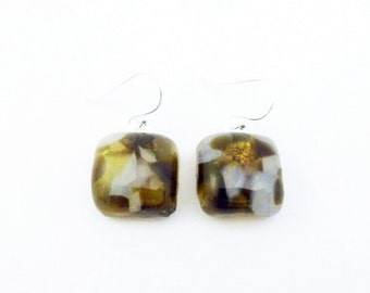 Recycled wine bottle earrings in brown and frosted glass on sterling silver/Eco-friendly brown, amber, white kiln-fused squares