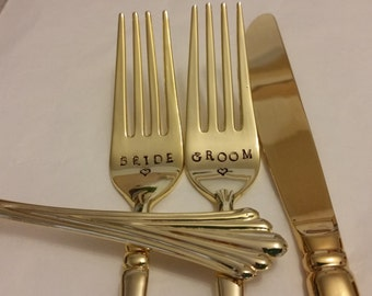 Wedding Forks Gold 3pc 24K Gold Plated BRIDE GROOM Hand Stamped Wonky forks +1 Unstamped knife Gold Forks a bit SHABBY recycled Real photos