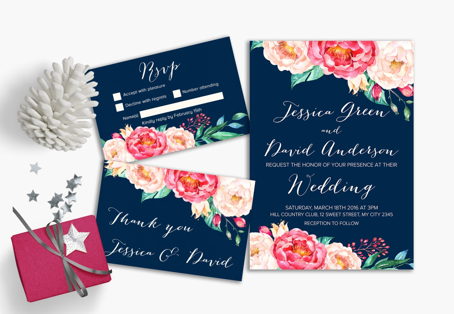 Navy & Pink Wedding Invitation