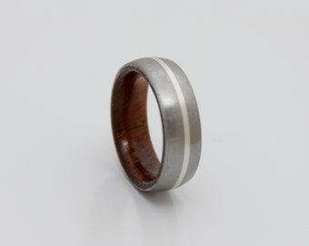 Titanium wood wedding band // Men's wedding ring // Her Wedding Ring // Koa wood ring // silver lined