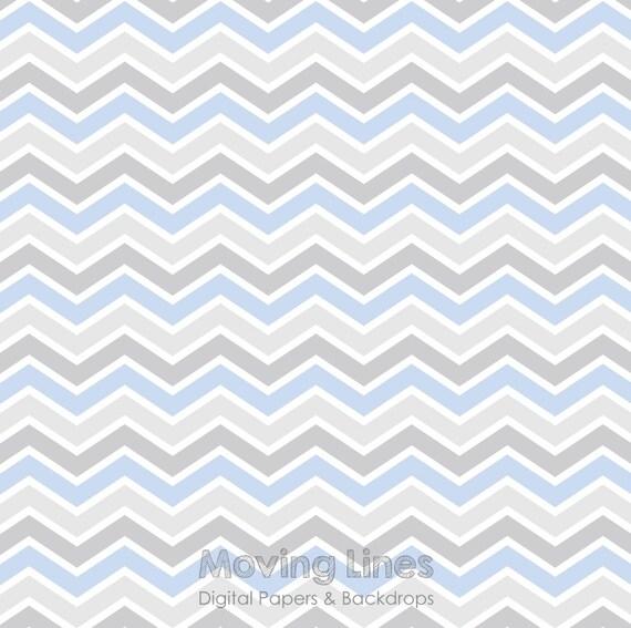 Gray Blue Chevron Digital Backdrop Newborn Baby Boy Birthday