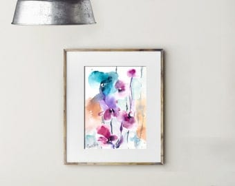 Abstract floral painting, bright colors art, ORIGINAL watercolor painting, modern watercolour art