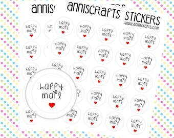 50 Happy Mail Stickers Small Heart Round Sheets Kawaii Labels Cute Planner Envelope Packaging United Kingdom UK. AC18