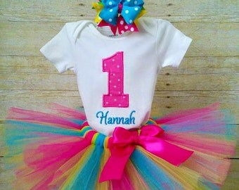Colorful 1st Birthday Tutu Outfit, Tropical Birthday, Hawaiian Birthday