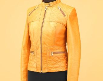 Quilted leather jacket,leather jacket women,leather jackets for women,quilted jacket,camel leather jacket