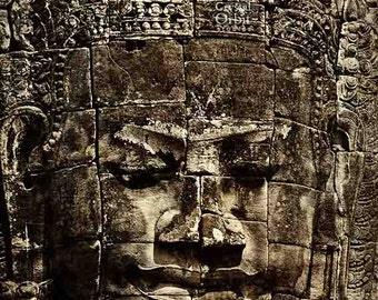 Buddha Print, Bayon Temple, Cambodia Art, Travel Photography, Black and Brown, Buddha Wall Art, Sepia Home Decor