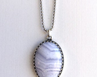 Blue Lace Agate Necklace, Large Blue Pendant, Natural Stone Gemstone Jewelry, Long Silver Chain, Hand Made Necklace, Oval Stone Pendant