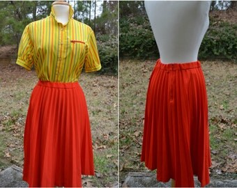 Vintage tomato red pleated skirt