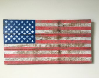 "Pallet American Flag Sign - Reclaimed Wood - USA Wall Art Large ~30"" x ~16"""