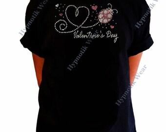"Girls Rhinestone T-Shirt "" Valentine's Day Heart with Lady Bug in Rhinestones "" Size XS to XL"