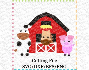EXCLUSIVE Barn with Animals svg cutting file, farm animals svg, horse svg, cow svg, pig svg, barn svg, farm svg, LIMITED commercial use