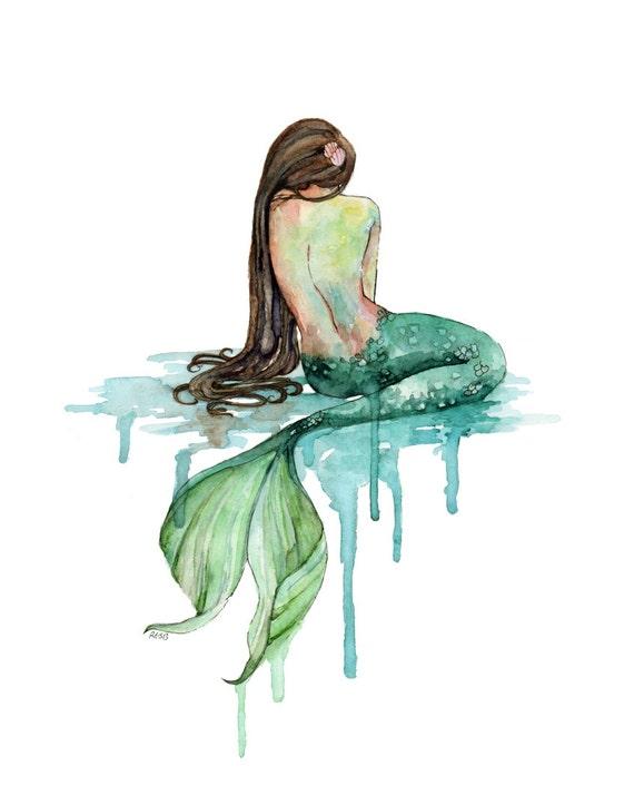 Watercolor Mermaid Print Painting titled by ...