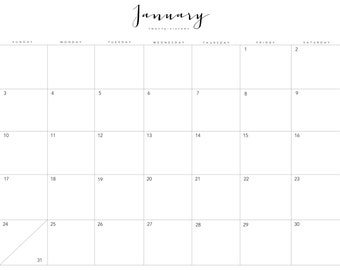Black & White - 12 Month Printable Calendar -2016-Landscape-INSTANT DOWNLOAD