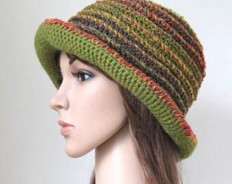 Brimmed Hat, Floppy Boho Hat, Unique Bucket Hat, Olive Green Brown Woodland Colours Wool, Soft Orange Bohemian Clothing