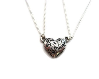 Small Best Friends Necklace  Set Tiny  Half Heart Necklace Split Heart Necklace Set Best Friend Necklace Bff Gifts Best Friend Set Pair