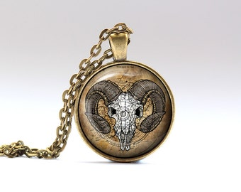 Goat skull necklace Steampunk pendant  Gothic jewelry SNW15