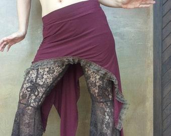 Tribal belly dance,  festival clothing, bourdeaux cabaret style skirt,  Festival skirt