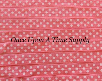 Coral Pink White Polka Dot Print Fold Over Elastic for Baby Headbands - 5 Yards of 5/8 inch FOE - Printed Colored Elastic By The Yard