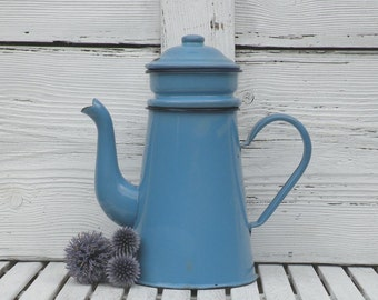 French vintage enamel cafetiere, blue enamel coffeepot, vintage cafetiere, blue cafetiere, enamel coffeepot, shabby chic French kitchen