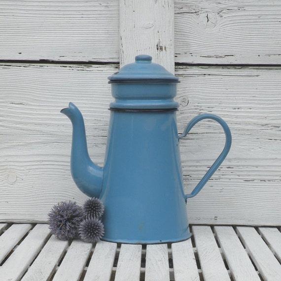 French Vintage Enamel Cafetiere Blue Enamel By Labonnevie72